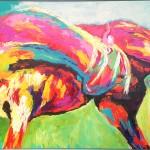 130x80 cm, Hest klør sig Ærespræmie ved DV's Gallashow til Hingstekåring 2014